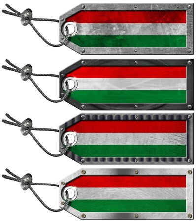 Four grunge metallic tags with hungarian flags, steel cable and metal rivets Stock Photo - 16888317