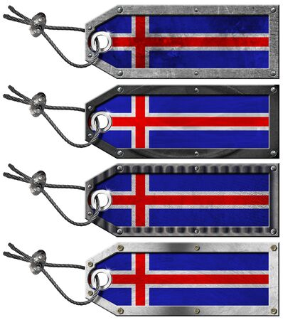 Four grunge metallic tags with Icelandic flags, steel cable and metal rivets Stock Photo - 16888312