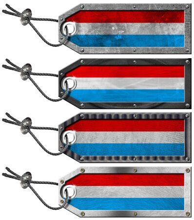 Four grunge metallic tags with Luxembourg flags, steel cable and metal rivets Stock Photo - 16888313