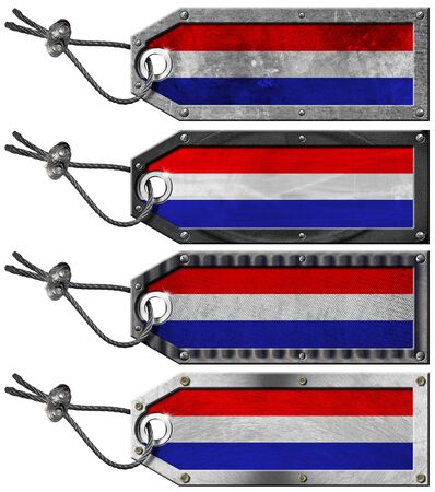 Four grunge metallic tags with Dutch flags, steel cable and metal rivets Stock Photo - 16888315