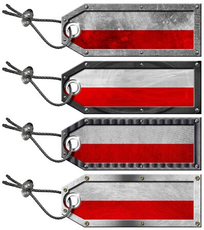 Four grunge metallic tags with Polish flags, steel cable and metal rivets Stock Photo - 16888319