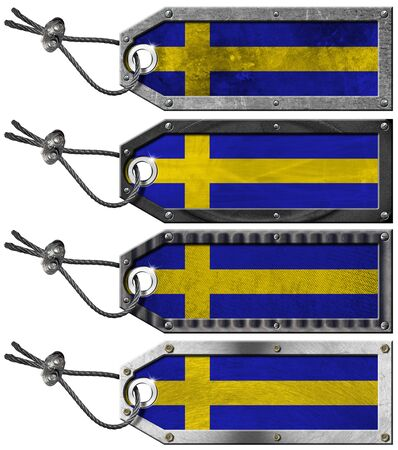 Four grunge metallic tags with swedish flags, steel cable and metal rivets photo