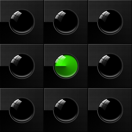Black Abstract background with nine squares, eight circles blacks and one green Stock Photo