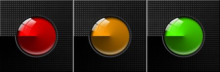 signaling: Black Abstract background with three colored circles, red, orange and green Stock Photo