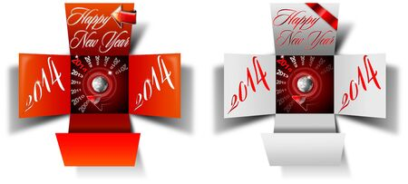 Two open box with timer and written happy new year 2014 on white background photo