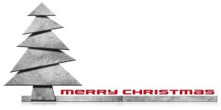 Metallic Vrolijk kerstboom met bouten hoofden op een witte achtergrond