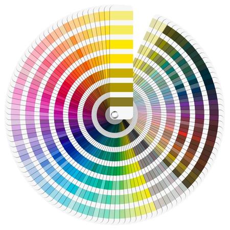 paleta de pintor: Paleta de colores Pantone gu�a aislado en el fondo blanco - c�rculo