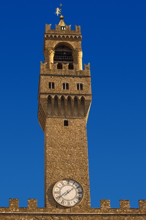 Closeup of Palazzo Vecchio Bell Tower in Florence, Tuscany Italy  1310