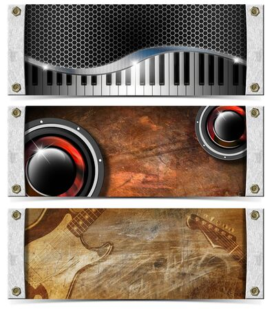 woofer: Three horizontal grunge music banners or headers with guitar, piano and woofer