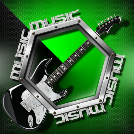 Music green background with metal hexagon, guitar and written music Stock Photo - 17208048