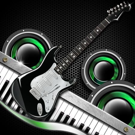六角形、ギター、ウーファーとピアノ音楽黒背景 写真素材