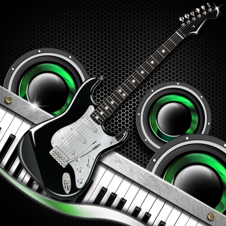 Music black background with hexagons, guitar, woofer and piano