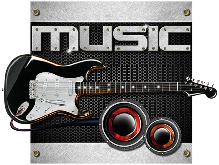 Music metal black background with hexagons, guitar and woofer Stock Photo - 17208052