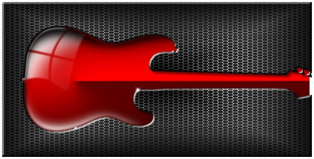 Music black background with hexagons and stylized red guitar Stock Photo - 17208037