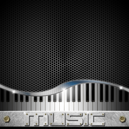 Music black background with hexagons, piano and written music Archivio Fotografico