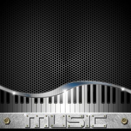 Muziek zwarte achtergrond met zeshoeken, piano en schriftelijke muziek Stockfoto