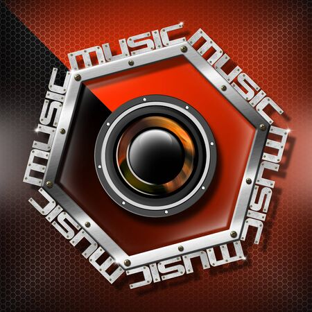 Music red background with metal hexagon, woofer and written music Stock Photo - 17208039
