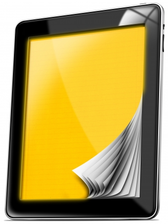 Black tablet computer with blank yellow pages on white background Stock Photo