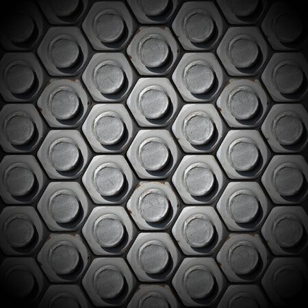 Metallic grunge background with bolts heads photo