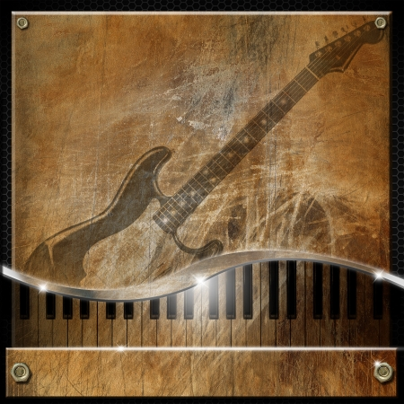 Grunge and brown musical background with piano and electric guitar Stock Photo - 17248494
