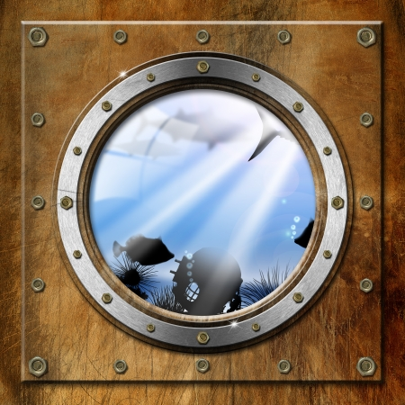 Brown and metallic porthole with bolts and blue sea abyss landscape