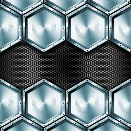 Blue and black background with metallic hexagons and screws photo