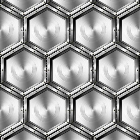 Gray background with metallic hexagons with screws on a black background Stock Photo - 17248497