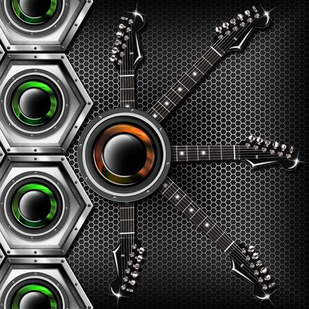 Music black background with metal hexagons, electric guitars and woofers Stock Photo - 17248499