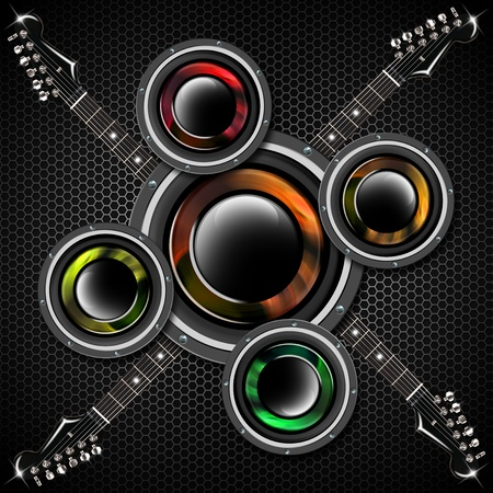 Music black background with hexagons, electric guitars and woofers Stock Photo - 17248493