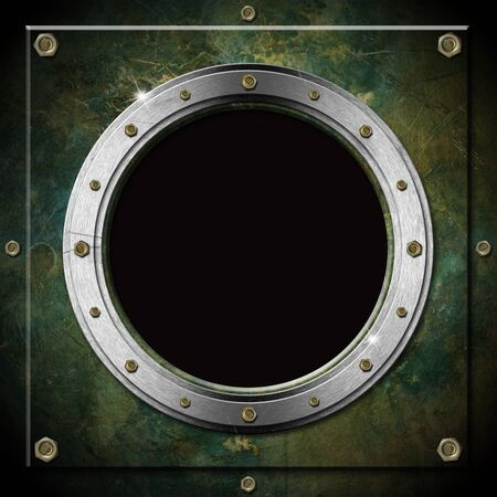 window hole: Dark green and gray metallic porthole with bolts and black hole  window
