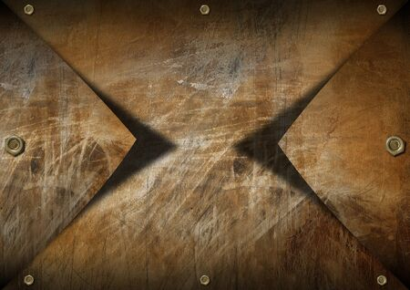 Brown metallic grunge background with shadows and bolts Stock Photo - 17291410