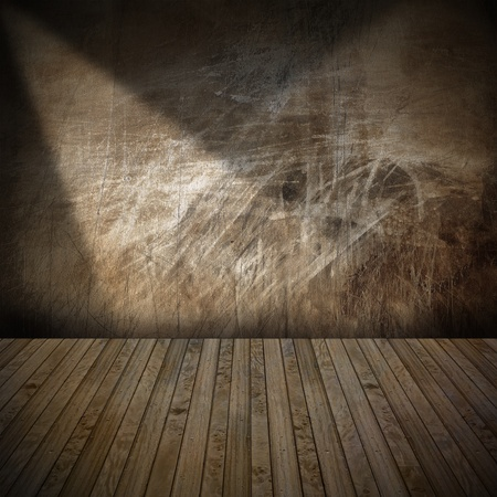 Brown metallic and wooden grunge interior with illuminated Stock Photo - 17291409