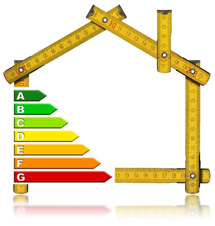 Wooden meter tool forming a house with certification electric output Imagens
