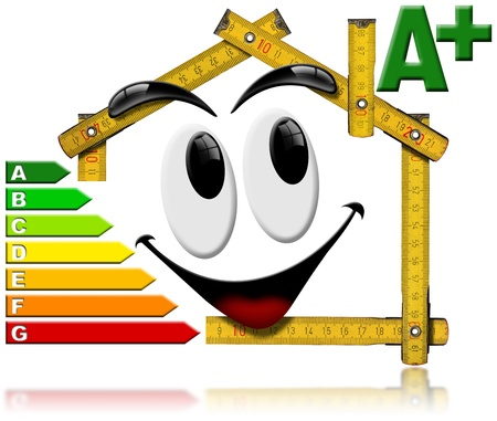 Wooden meter tool forming a house with a smile and certification electric output