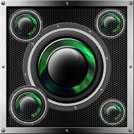 Acoustic system with green and black woofer and protection with hexagonal holes  photo