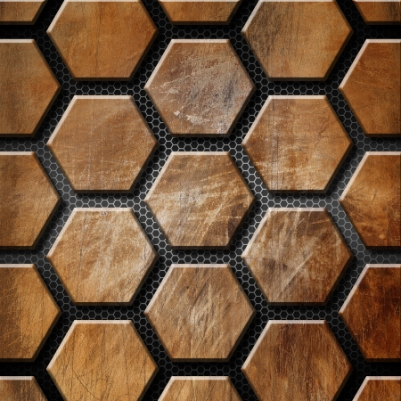 Rusty and brown grunge template with hexagons on a metallic and black background Stock Photo - 17336794