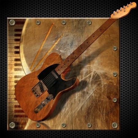 Grunge en bruine muzikale achtergrond met piano, elektrische gitaar en drum sticks