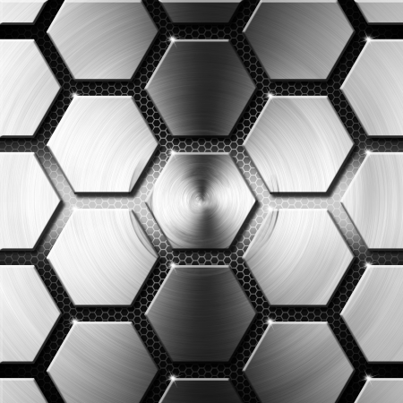 Metallic gray hexagons on a black background with Hexagons Stock Photo - 17336799