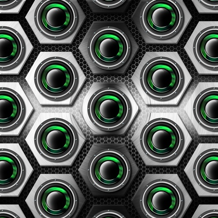 tweeter: Gray background with metallic hexagons with black and green acoustic system Stock Photo