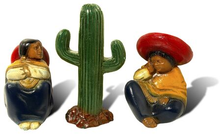 Men, women and cactus, three mexican statuettes - mexico siesta time photo