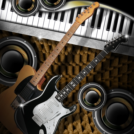 Music background with two electric guitars, piano and woofers