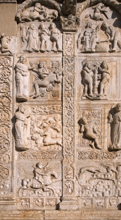 middleages: Eight bas-reliefs to the right of the portal of the church of San Zeno - Verona, Italy Stock Photo
