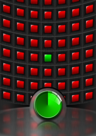 Metallic template background with green and red squares and green plate