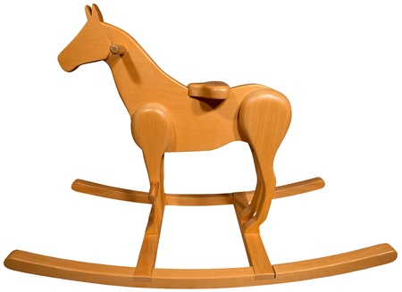 Brown wooden rocking horse isolated on white background photo