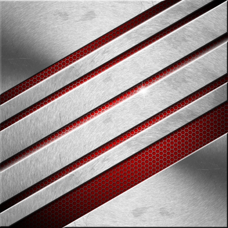 Red and metal business background with diagonals, grid and reflections