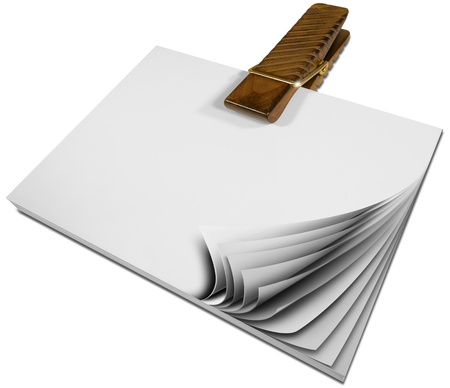 agenda browse: Notepad with blank pages held together by large wooden clothespin Stock Photo