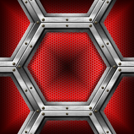 energy grid: Red and metal business background with grid, hexagons and reflections Stock Photo