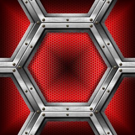 Rood en metalen zakelijke achtergrond met raster, zeshoeken en reflecties