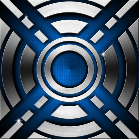 lamina: Metallic and blue futuristic template background with geometrical forms