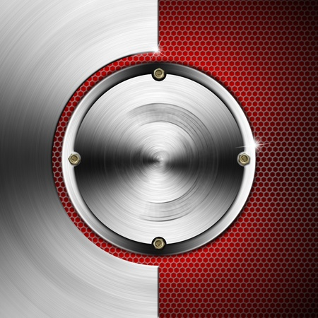 Red and metal business background with grid, hexagons, circles and bolts Stock Photo - 19449047